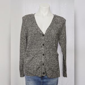 Madewell Black White Marled Button Up Cardigan XS